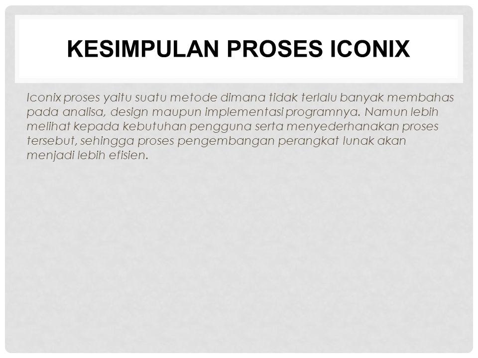 KESIMPULAN PROSES ICONIX Iconix proses yaitu suatu metode dimana tidak terlalu banyak membahas pada analisa, design maupun implementasi programnya. Na