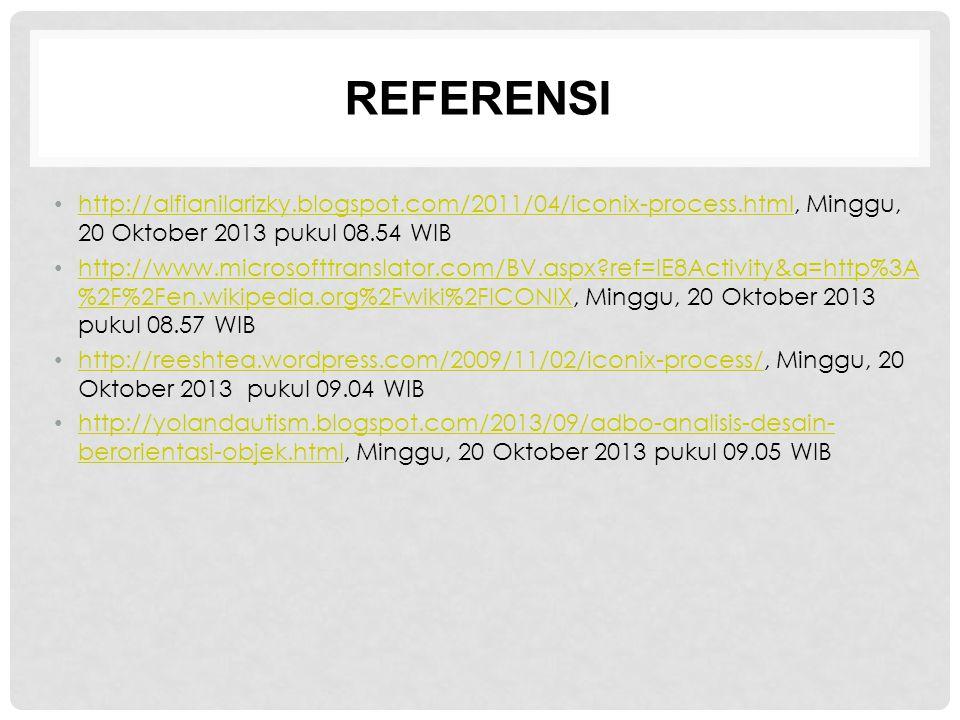 REFERENSI http://alfianilarizky.blogspot.com/2011/04/iconix-process.html, Minggu, 20 Oktober 2013 pukul 08.54 WIB http://alfianilarizky.blogspot.com/2