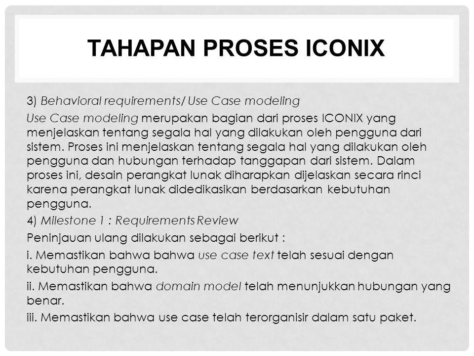TAHAPAN PROSES ICONIX 3) Behavioral requirements/ Use Case modeling Use Case modeling merupakan bagian dari proses ICONIX yang menjelaskan tentang seg