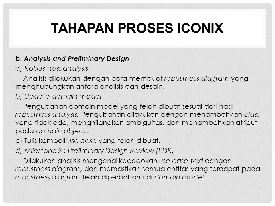 TAHAPAN PROSES ICONIX b. Analysis and Preliminary Design a) Robustness analysis Analisis dilakukan dengan cara membuat robustness diagram yang menghub