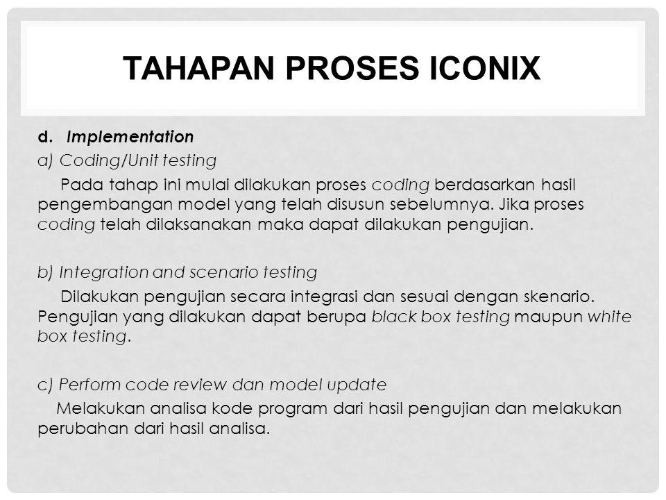 TAHAPAN PROSES ICONIX d. Implementation a) Coding/Unit testing Pada tahap ini mulai dilakukan proses coding berdasarkan hasil pengembangan model yang