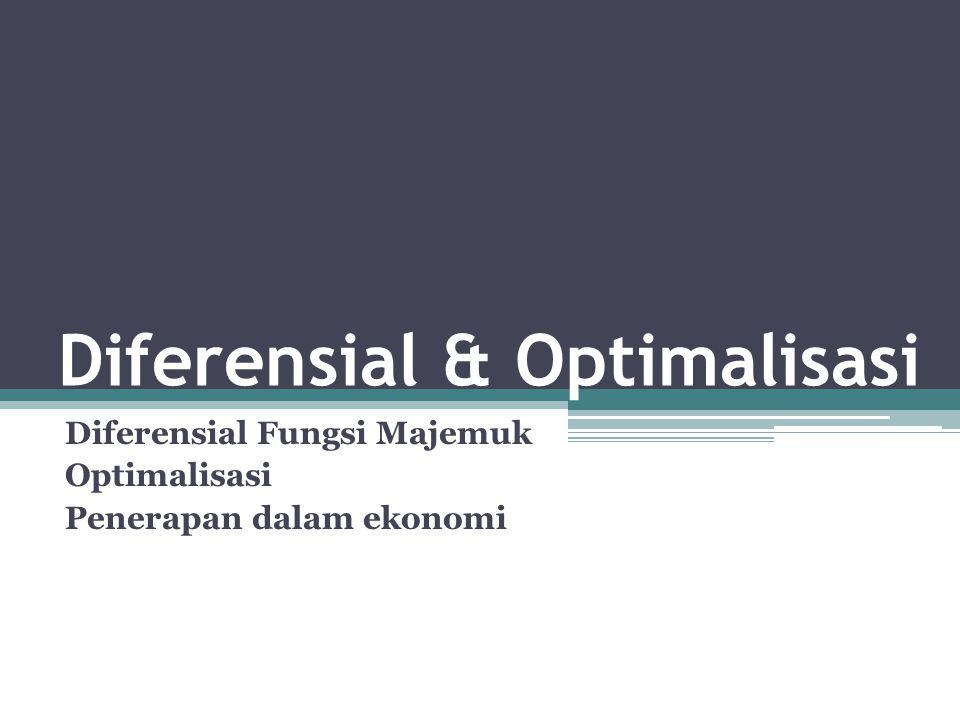 Parsial Diferensial Sebuah fungsi yg hanya mengandung satu variabel bebas hanya akan memiliki satu macam turunan Jika y = f(x) maka turunan y terhadap x: y' = dy/dx Sedangkan jika fungsi yg bersangkutan memiliki lebih dari satu variabel bebas, maka turunannya akan lebih dari satu macam, tergantung jumlah variabel bebasnya