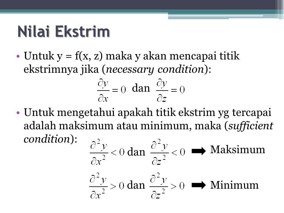 Nilai Ekstrim Untuk y = f(x, z) maka y akan mencapai titik ekstrimnya jika (necessary condition): Untuk mengetahui apakah titik ekstrim yg tercapai adalah maksimum atau minimum, maka (sufficient condition): dan Maksimum Minimum