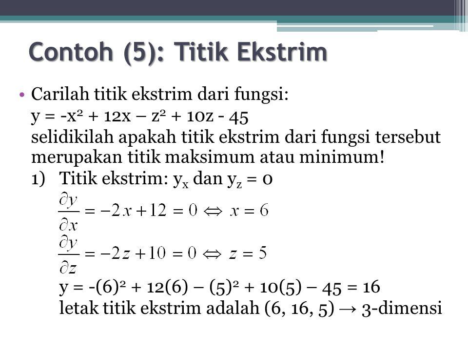 Contoh (5): Titik Ekstrim Carilah titik ekstrim dari fungsi: y = -x 2 + 12x – z 2 + 10z - 45 selidikilah apakah titik ekstrim dari fungsi tersebut merupakan titik maksimum atau minimum.