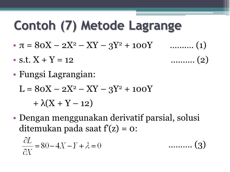 Contoh (7) Metode Lagrange π = 80X – 2X 2 – XY – 3Y 2 + 100Y.…...… (1) s.t.