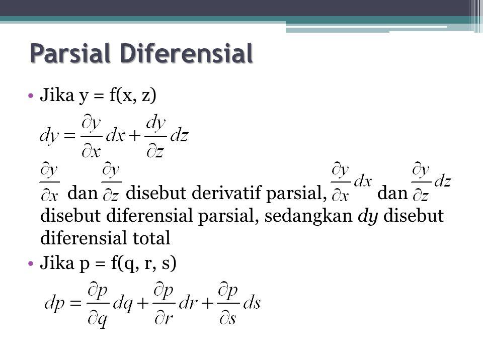 Parsial Diferensial Jika y = f(x, z) dan disebut derivatif parsial, dan disebut diferensial parsial, sedangkan dy disebut diferensial total Jika p = f(q, r, s)