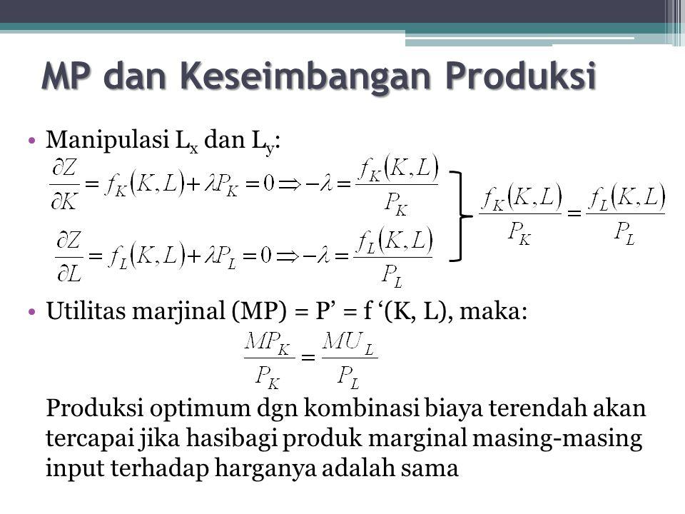 MP dan Keseimbangan Produksi Manipulasi L x dan L y : Utilitas marjinal (MP) = P' = f '(K, L), maka: Produksi optimum dgn kombinasi biaya terendah akan tercapai jika hasibagi produk marginal masing-masing input terhadap harganya adalah sama