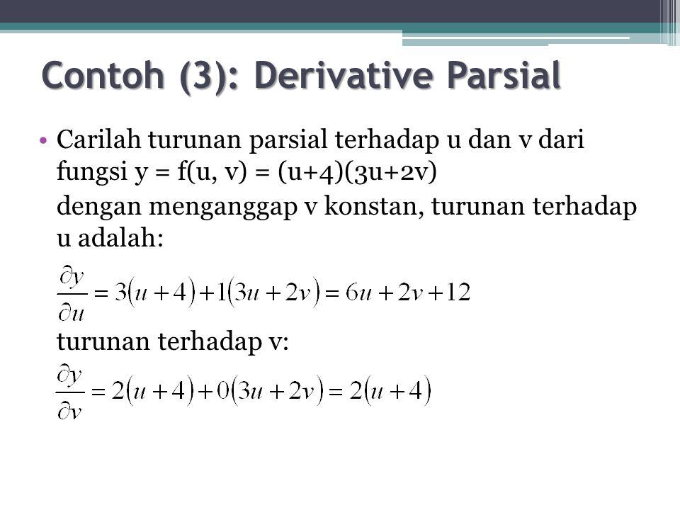Contoh (6) Metode Substitusi Derivasi order ke-1 persamaan (4): dπ/dY = 0 –8Y + 56 = 0 ↔ Y* = 7 Substitusi nilai Y ke (3): X* = 12 – 7 = 5 Profit (π): π= 80(5) – 2(5) 2 – (5)7 – 3(7) 2 + 100(7) = $868 Jenis titik ekstrim: d 2 π/dY 2 = -8 < 0 → titik ekstrim maksimum