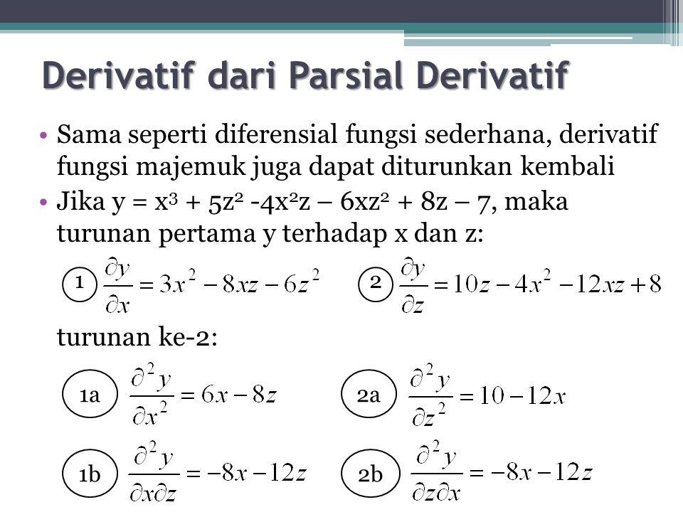 Derivatif dari Parsial Derivatif Sama seperti diferensial fungsi sederhana, derivatif fungsi majemuk juga dapat diturunkan kembali Jika y = x 3 + 5z 2 -4x 2 z – 6xz 2 + 8z – 7, maka turunan pertama y terhadap x dan z: turunan ke-2: 1a 1b 2a 2b 12