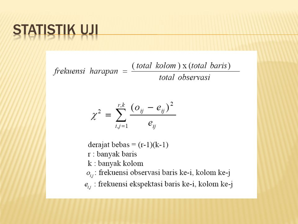  Ho ditolak jika nilai-p lebih kecil dari tingkat signifikansi α = 5 %.  Interpretasi