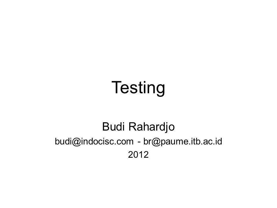 Tujuan Pengujian (Testing) Memastikan sistem (aplikasi) berfungsi seperti yang diharapkan Membandingkan antara requirement dengan implementasi 2012Testing v.0.12