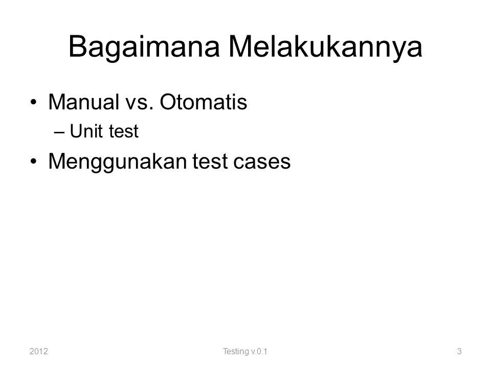 Test Cases Kasus normal Ekstrim kiri dan kanan – min / max Hanya satu variabel yang berubah dari test sebelumnya (untuk memahami efek perubahan) 2012Testing v.0.14