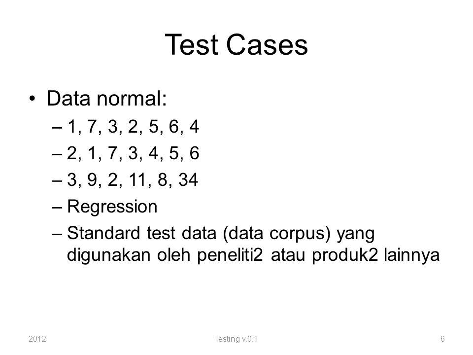 Test Cases Data normal: –1, 7, 3, 2, 5, 6, 4 –2, 1, 7, 3, 4, 5, 6 –3, 9, 2, 11, 8, 34 –Regression –Standard test data (data corpus) yang digunakan oleh peneliti2 atau produk2 lainnya 2012Testing v.0.16