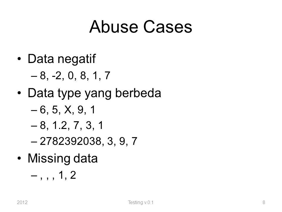 Abuse Cases Data negatif –8, -2, 0, 8, 1, 7 Data type yang berbeda –6, 5, X, 9, 1 –8, 1.2, 7, 3, 1 –2782392038, 3, 9, 7 Missing data –,,, 1, 2 2012Testing v.0.18
