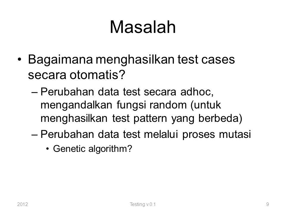 Masalah Bagaimana menghasilkan test cases secara otomatis.