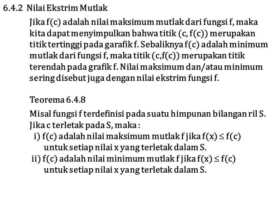 6.4.2 Nilai Ekstrim Mutlak Jika f(c) adalah nilai maksimum mutlak dari fungsi f, maka kita dapat menyimpulkan bahwa titik (c, f(c)) merupakan titik tertinggi pada garafik f.