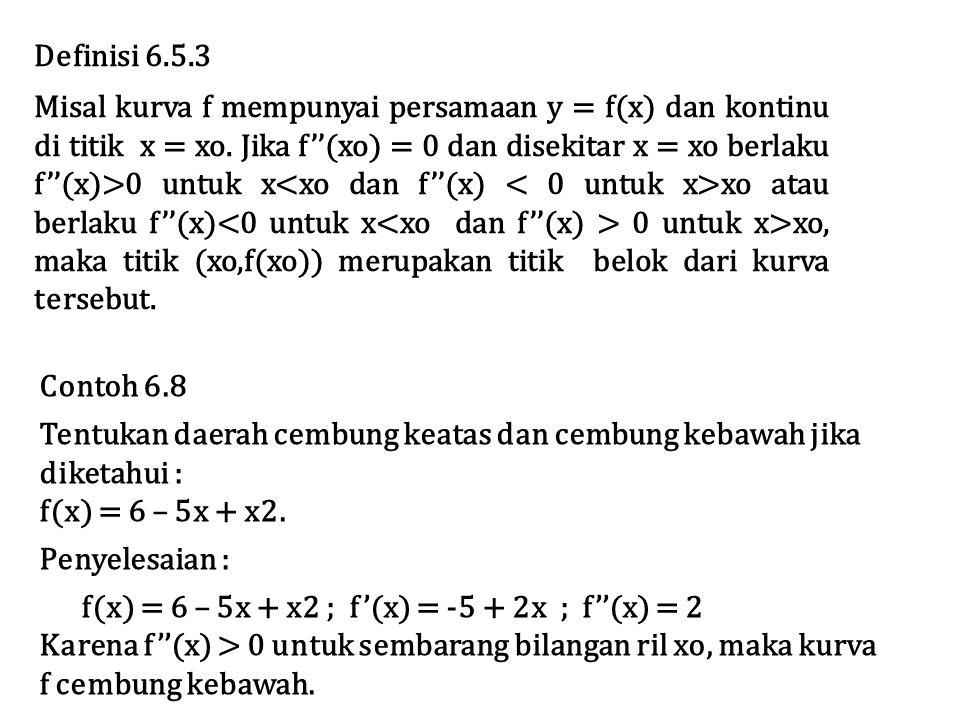 Definisi 6.5.3 Misal kurva f mempunyai persamaan y = f(x) dan kontinu di titik x = xo.