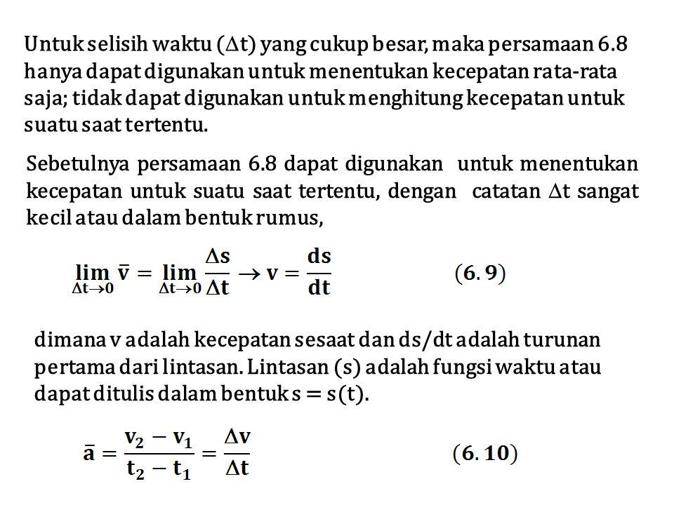 Untuk selisih waktu (  t) yang cukup besar, maka persamaan 6.8 hanya dapat digunakan untuk menentukan kecepatan rata-rata saja; tidak dapat digunakan untuk menghitung kecepatan untuk suatu saat tertentu.