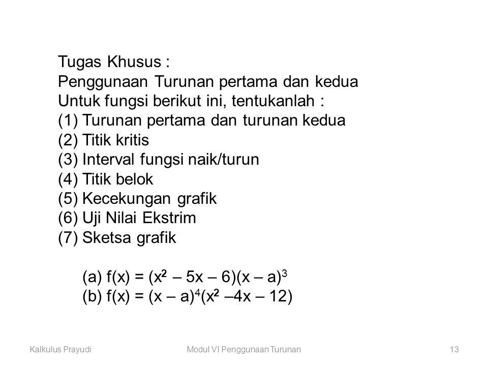 Kalkulus PrayudiModul VI Penggunaan Turunan13 Tugas Khusus : Penggunaan Turunan pertama dan kedua Untuk fungsi berikut ini, tentukanlah : (1)Turunan p