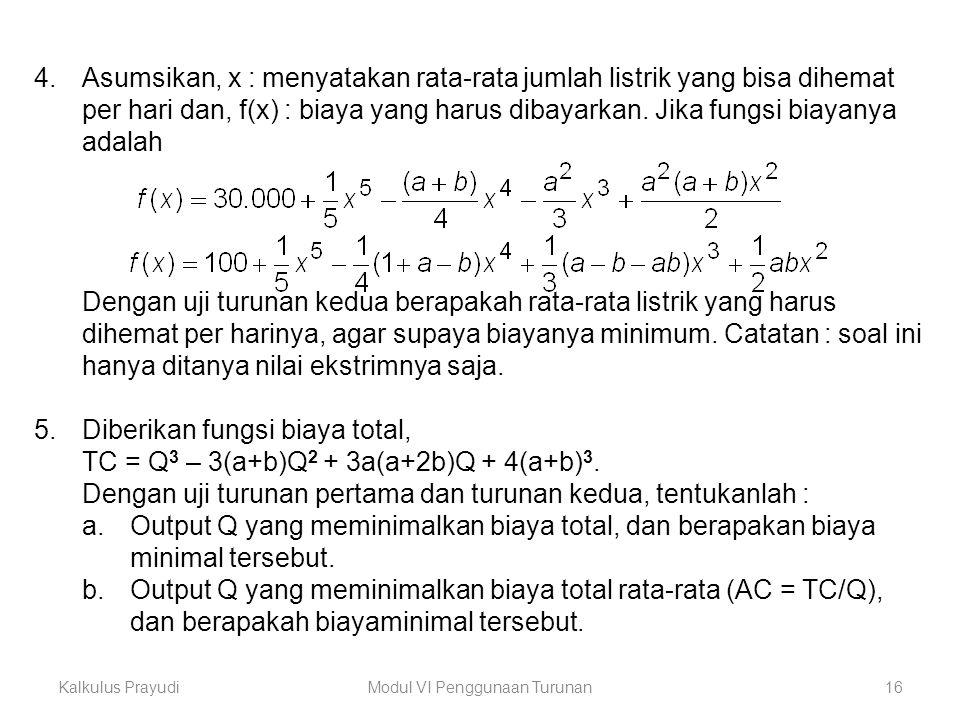 Kalkulus PrayudiModul VI Penggunaan Turunan16 4.Asumsikan, x : menyatakan rata-rata jumlah listrik yang bisa dihemat per hari dan, f(x) : biaya yang h