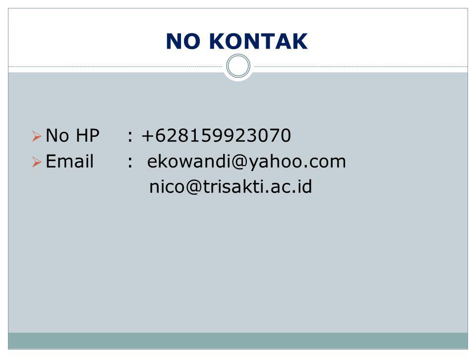 NO KONTAK  No HP: +628159923070  Email: ekowandi@yahoo.com nico@trisakti.ac.id