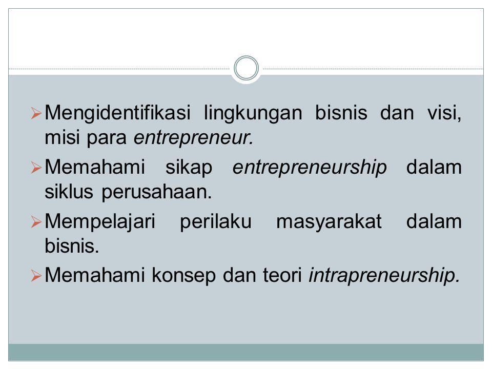  Mengidentifikasi lingkungan bisnis dan visi, misi para entrepreneur.  Memahami sikap entrepreneurship dalam siklus perusahaan.  Mempelajari perila