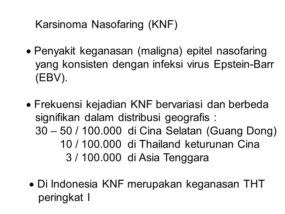 Karsinoma Nasofaring (KNF)  Penyakit keganasan (maligna) epitel nasofaring yang konsisten dengan infeksi virus Epstein-Barr (EBV).  Frekuensi kejadi