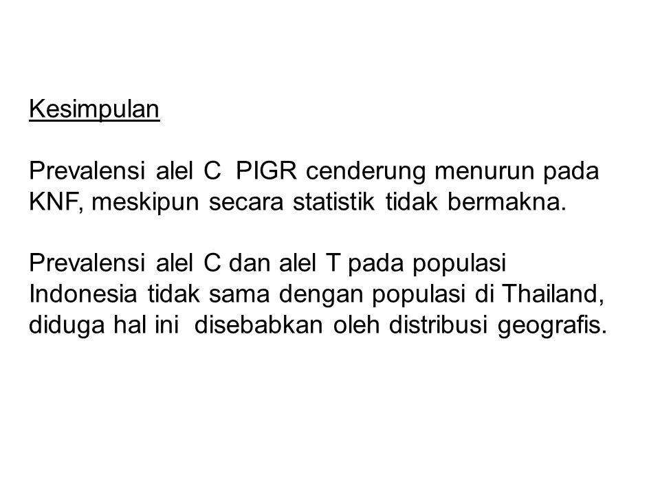 Kesimpulan Prevalensi alel C PIGR cenderung menurun pada KNF, meskipun secara statistik tidak bermakna. Prevalensi alel C dan alel T pada populasi Ind
