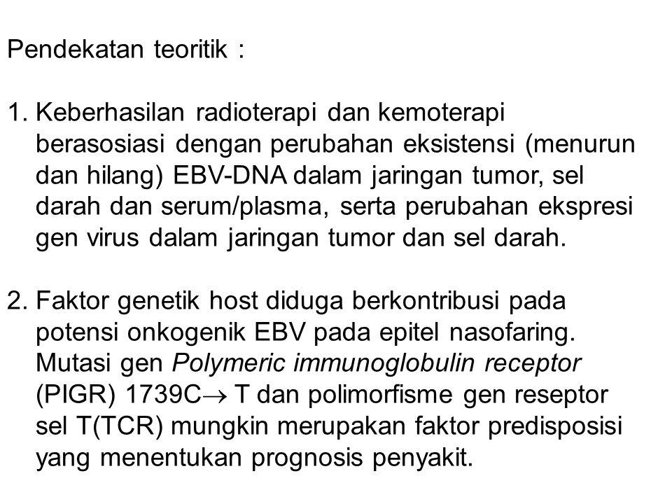 Pendekatan teoritik : 1. Keberhasilan radioterapi dan kemoterapi berasosiasi dengan perubahan eksistensi (menurun dan hilang) EBV-DNA dalam jaringan t