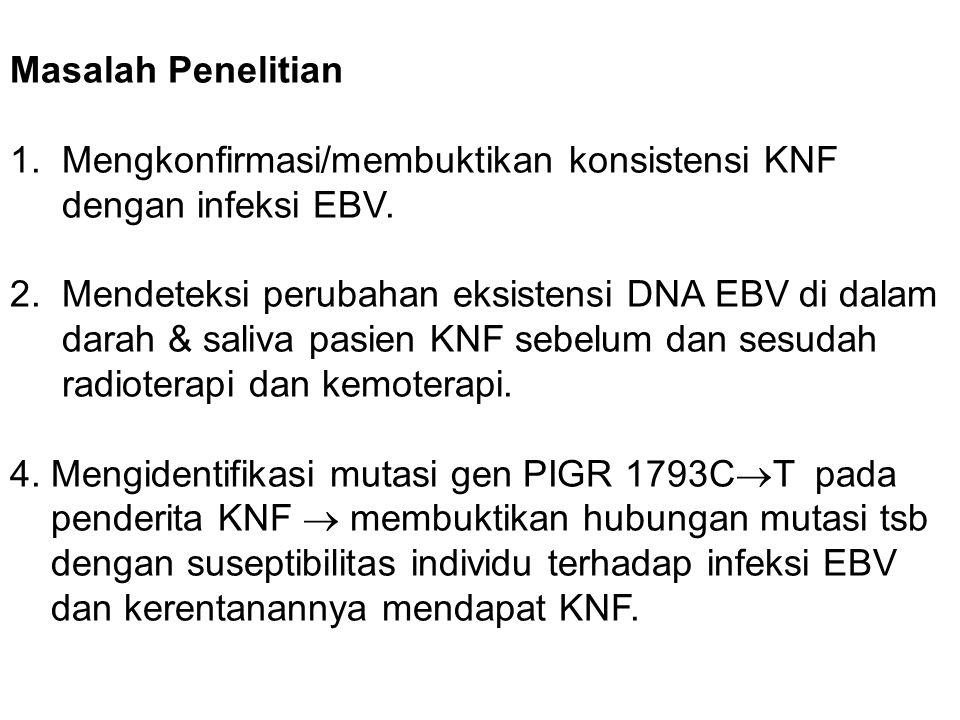 Masalah Penelitian 1. Mengkonfirmasi/membuktikan konsistensi KNF dengan infeksi EBV. 2. Mendeteksi perubahan eksistensi DNA EBV di dalam darah & saliv