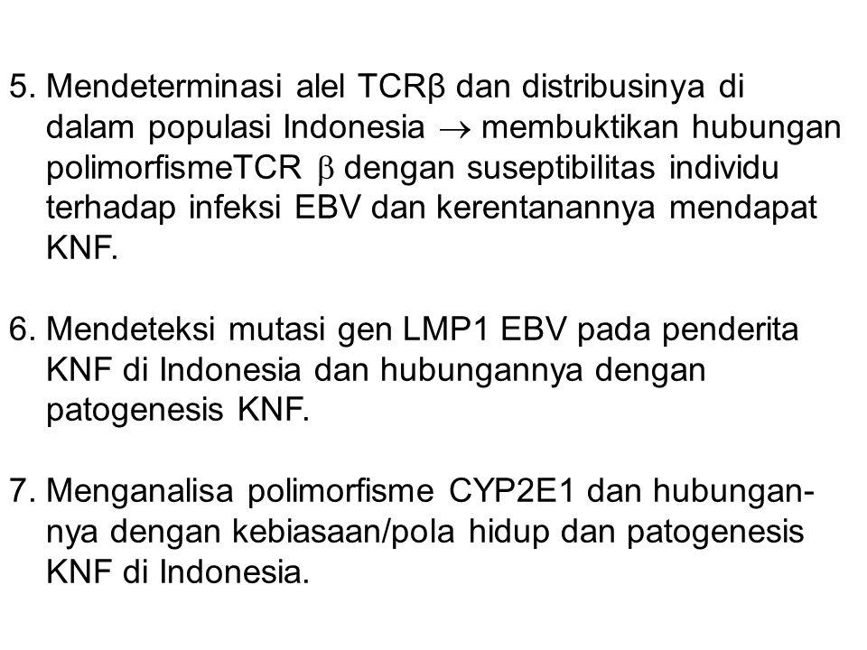 5. Mendeterminasi alel TCRβ dan distribusinya di dalam populasi Indonesia  membuktikan hubungan polimorfismeTCR  dengan suseptibilitas individu terh