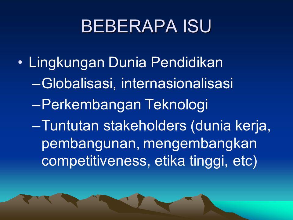 BEBERAPA ISU Lingkungan Dunia Pendidikan –Globalisasi, internasionalisasi –Perkembangan Teknologi –Tuntutan stakeholders (dunia kerja, pembangunan, me
