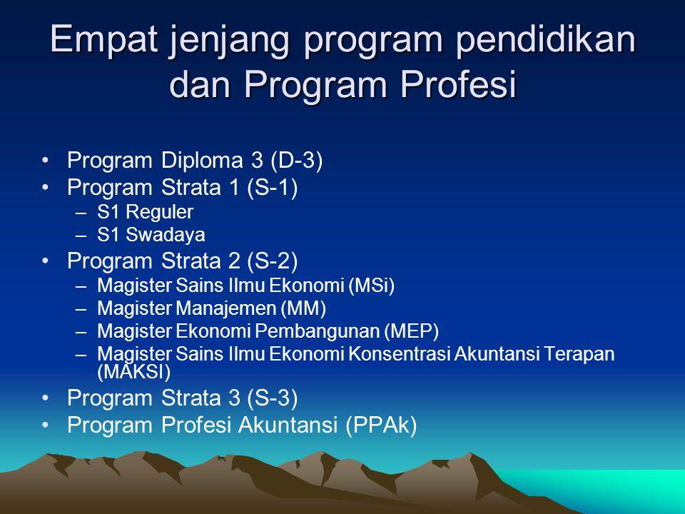 Empat jenjang program pendidikan dan Program Profesi Program Diploma 3 (D-3) Program Strata 1 (S-1) –S1 Reguler –S1 Swadaya Program Strata 2 (S-2) –Ma