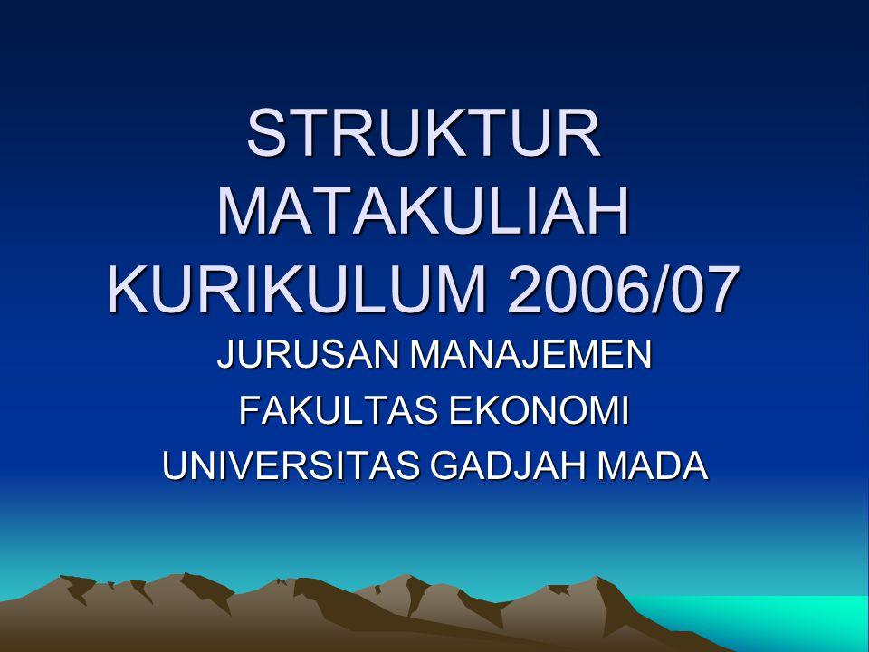 STRUKTUR MATAKULIAH KURIKULUM 2006/07 JURUSAN MANAJEMEN FAKULTAS EKONOMI UNIVERSITAS GADJAH MADA