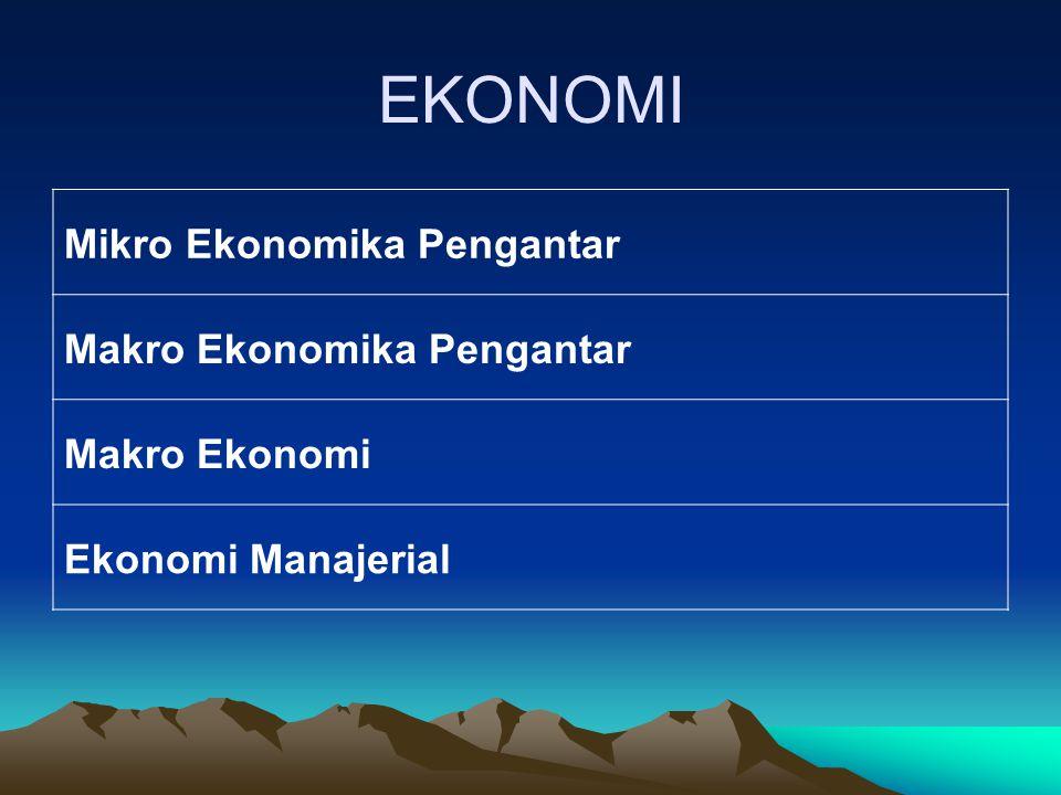 EKONOMI Mikro Ekonomika Pengantar Makro Ekonomika Pengantar Makro Ekonomi Ekonomi Manajerial