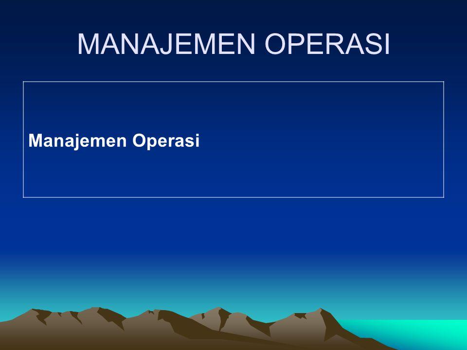 MANAJEMEN OPERASI Manajemen Operasi
