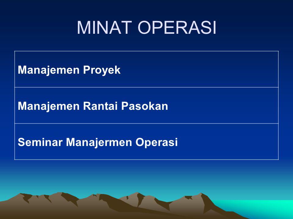 MINAT OPERASI Manajemen Proyek Manajemen Rantai Pasokan Seminar Manajermen Operasi