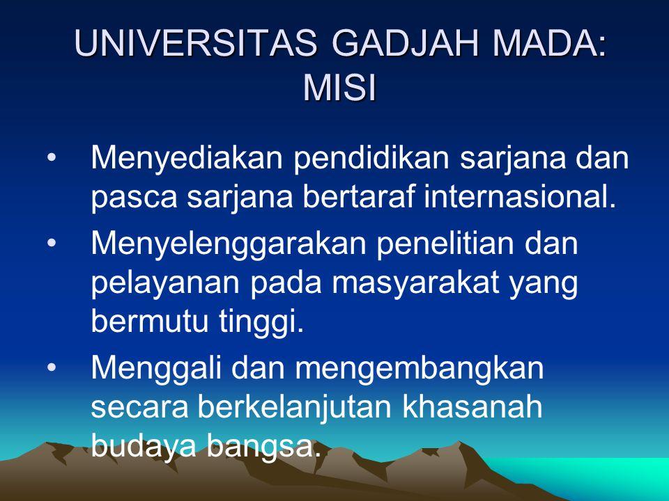 UNIVERSITAS GADJAH MADA: MISI Menyediakan pendidikan sarjana dan pasca sarjana bertaraf internasional. Menyelenggarakan penelitian dan pelayanan pada