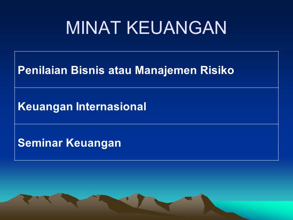 MINAT KEUANGAN Penilaian Bisnis atau Manajemen Risiko Keuangan Internasional Seminar Keuangan