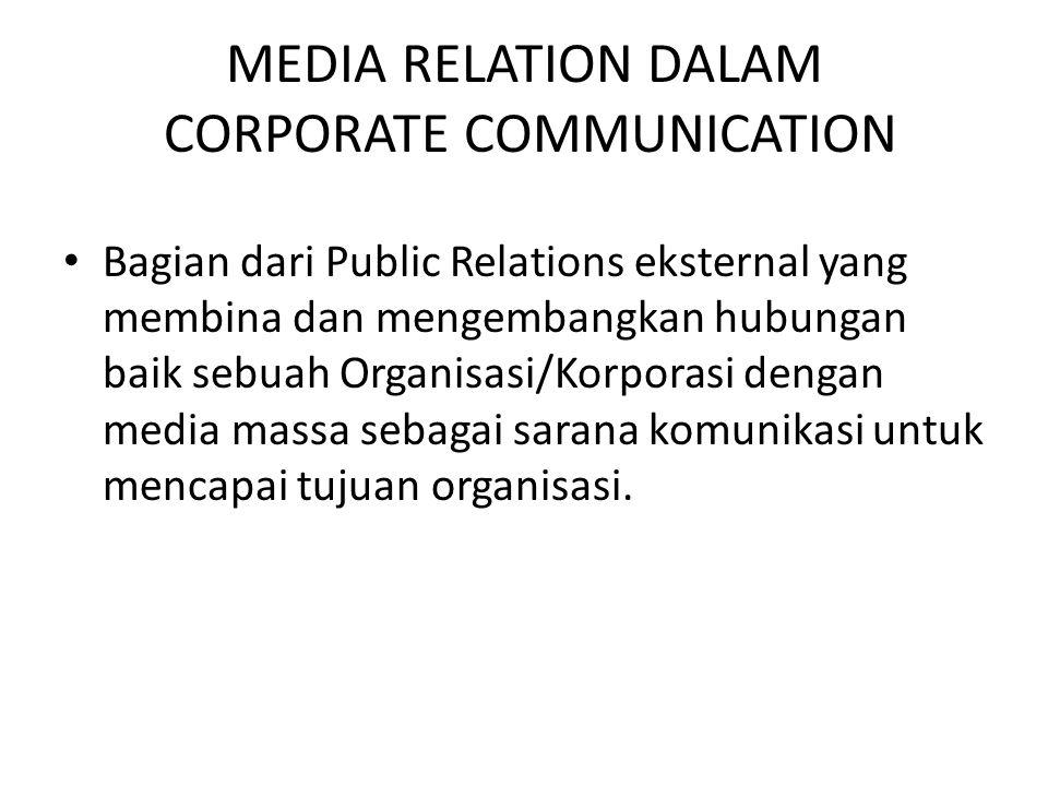 MEDIA RELATION DALAM CORPORATE COMMUNICATION Bagian dari Public Relations eksternal yang membina dan mengembangkan hubungan baik sebuah Organisasi/Kor