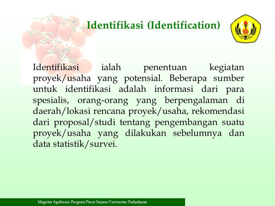 Magister Agribisnis Program Pasca Sarjana Universitas Padjadjaran Identifikasi (Identification) Identifikasi ialah penentuan kegiatan proyek/usaha yan