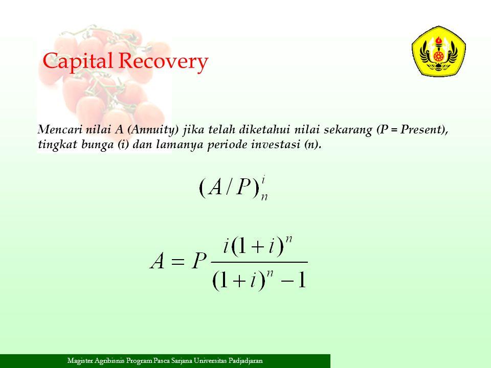 Magister Agribisnis Program Pasca Sarjana Universitas Padjadjaran Mencari nilai A (Annuity) jika telah diketahui nilai sekarang (P = Present), tingkat
