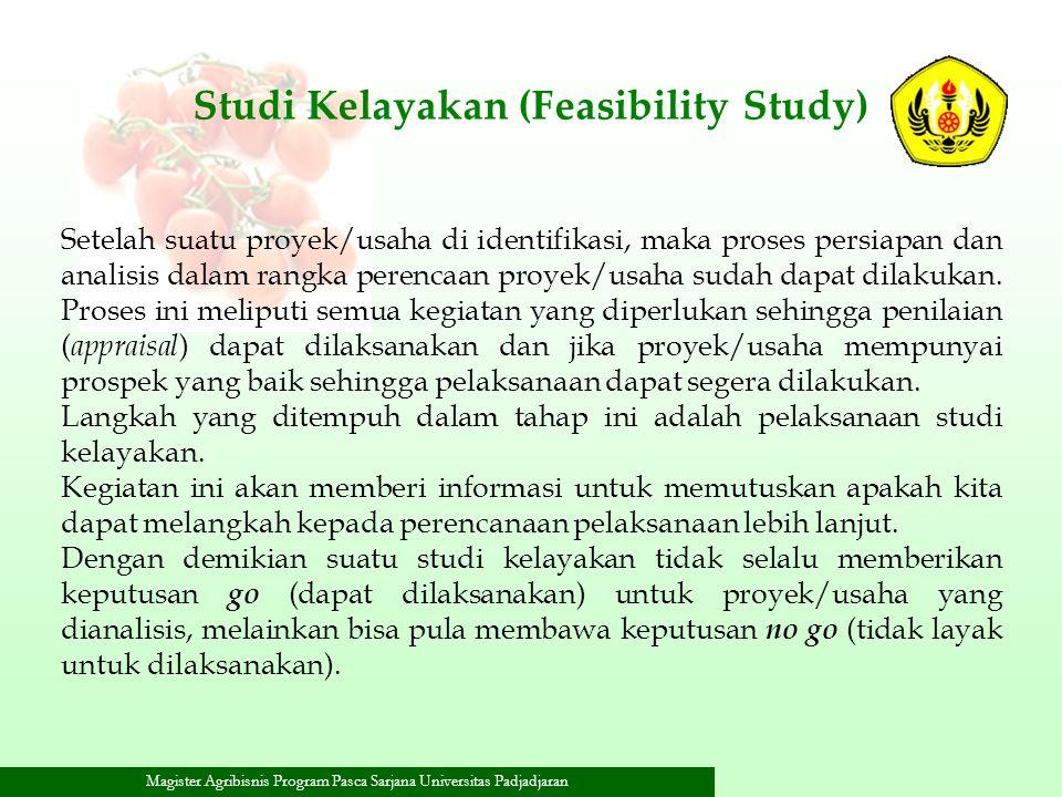 Magister Agribisnis Program Pasca Sarjana Universitas Padjadjaran Studi Kelayakan (Feasibility Study) Setelah suatu proyek/usaha di identifikasi, maka