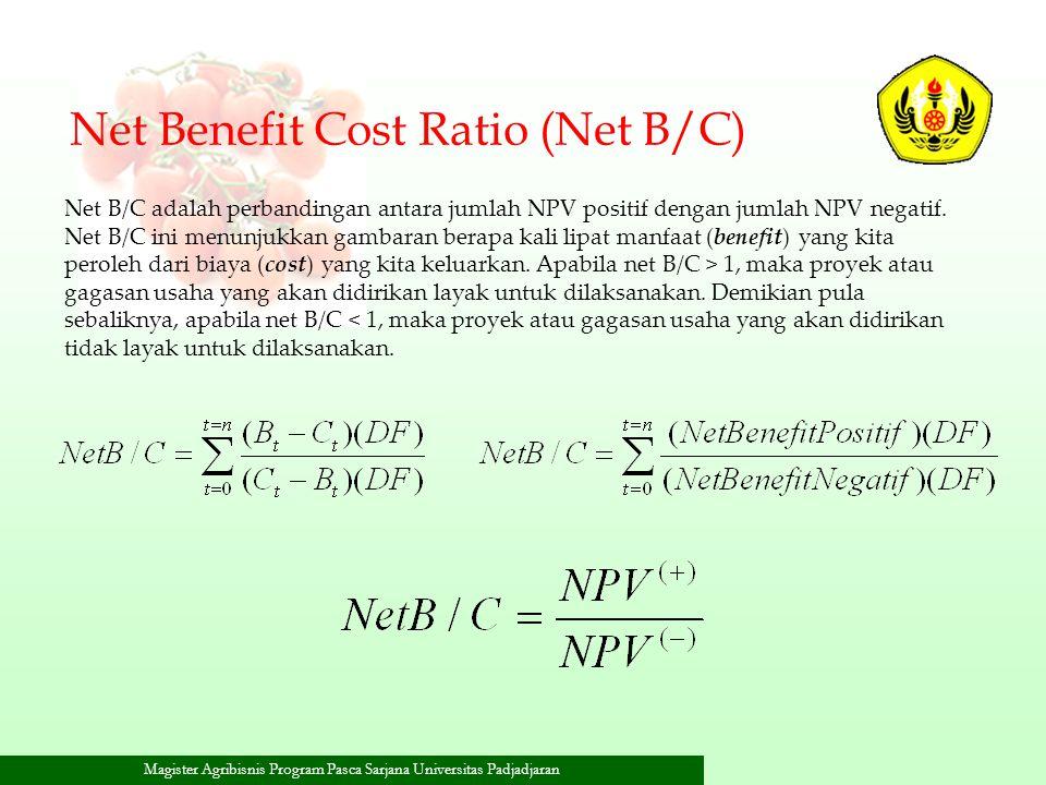 Magister Agribisnis Program Pasca Sarjana Universitas Padjadjaran Net Benefit Cost Ratio (Net B/C) Net B/C adalah perbandingan antara jumlah NPV posit