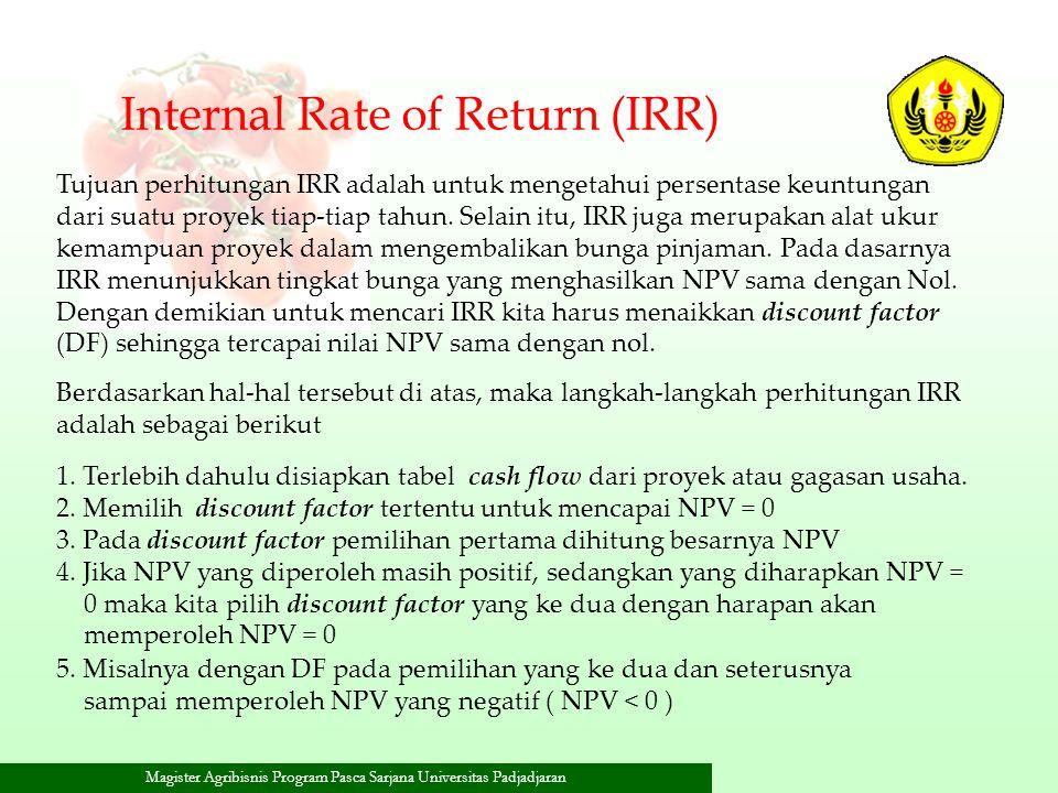 Magister Agribisnis Program Pasca Sarjana Universitas Padjadjaran Internal Rate of Return (IRR) Tujuan perhitungan IRR adalah untuk mengetahui persent