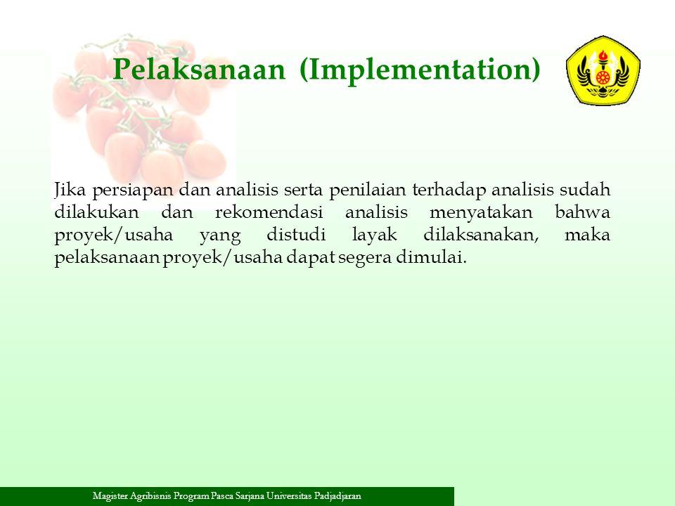Magister Agribisnis Program Pasca Sarjana Universitas Padjadjaran Pelaksanaan (Implementation) Jika persiapan dan analisis serta penilaian terhadap an