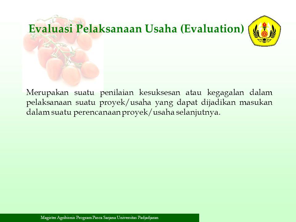 Magister Agribisnis Program Pasca Sarjana Universitas Padjadjaran Evaluasi Pelaksanaan Usaha (Evaluation) Merupakan suatu penilaian kesuksesan atau ke