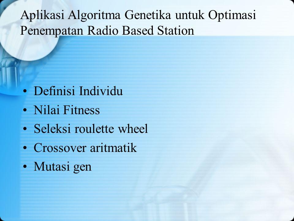 Aplikasi Algoritma Genetika untuk Optimasi Penempatan Radio Based Station Definisi Individu Nilai Fitness Seleksi roulette wheel Crossover aritmatik M