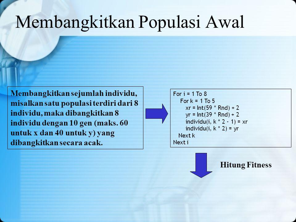 Membangkitkan Populasi Awal Membangkitkan sejumlah individu, misalkan satu populasi terdiri dari 8 individu, maka dibangkitkan 8 individu dengan 10 ge