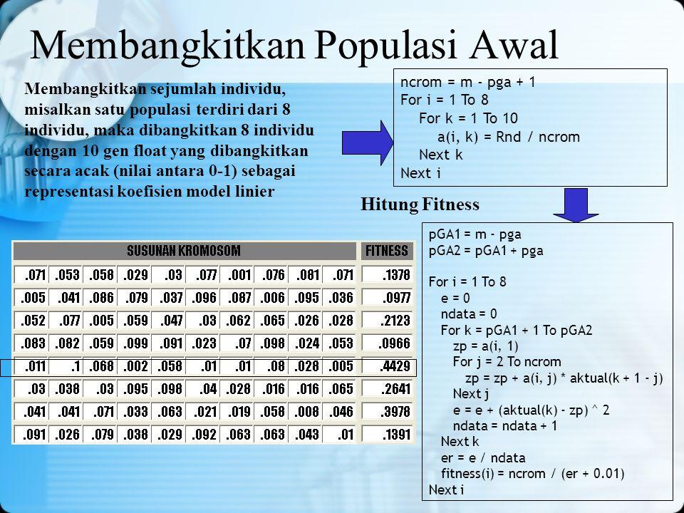 Membangkitkan sejumlah individu, misalkan satu populasi terdiri dari 8 individu, maka dibangkitkan 8 individu dengan 10 gen float yang dibangkitkan se